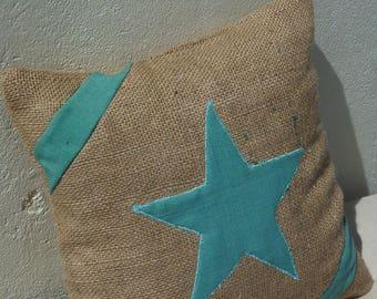 gunny decorative pillow / star pattern