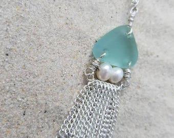 Lake Erie Jellyfish/ Aqua Beach glass, silver tassel necklace