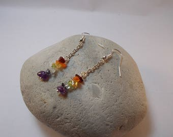 Earrings stones semi precious 7 chakras colors