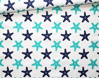 Fabric starfish, 100% cotton 50 x 160 cm, motif star sea blue and turquoise on bottom