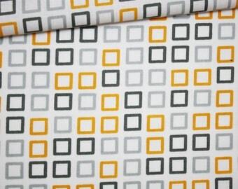 Mustard yellow plaid, gray, 100% cotton fabric printed 50 x 160 cm, yellow plaid pattern