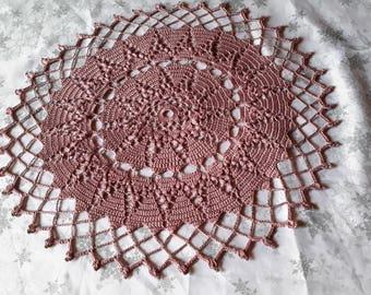 Handmade lace doily lace crochet, 42 cm, plum