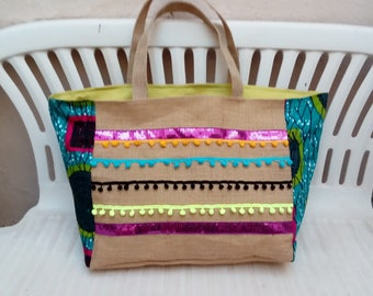 Great beach bag in Burlap and fabric wax
