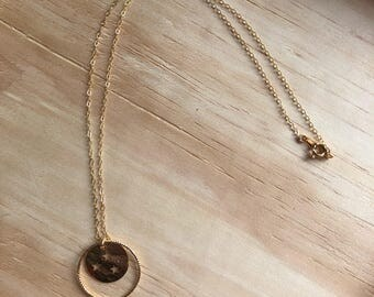 Necklace gold filled coin gilded in gold with stars