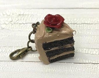 Chocolate Cake Polymer Clay Charm | Knitting Accessory | Crocheting Accessory | Miniature Food | Food Jewelry | Knitting Progress Keeper