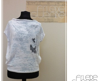 Semi transparent shirt with screenprint graphic by Daile