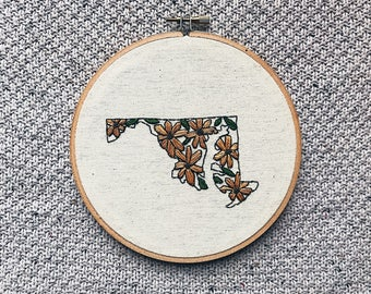 M A R Y L A N D,  hand embroidery, hoop art, contemporary embroidery, modern embroidery, hand stitched, baltimore