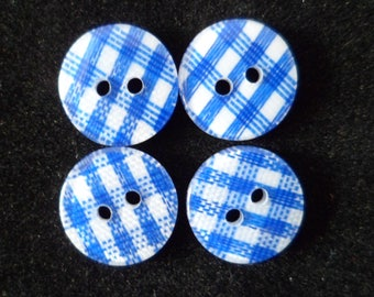 10 buttons sewing blue gingham and white 12 mm, Ref: 03