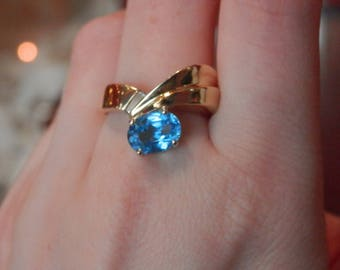 Handmade OOAK Ring Diamond and Brilliant Blue Topaz (FREE Resizing Available)
