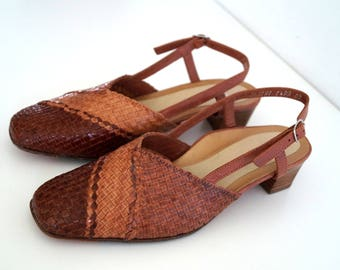 HASSIA DIANA shoes Womens Leather shoes Genuine leather shoes  Eur 38 Brown Slingback Woven leather Sandals Open heel shoes Strappy sandals