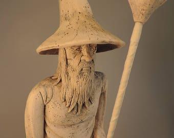 Gandalf the White ceramic figurine wizard sculpture
