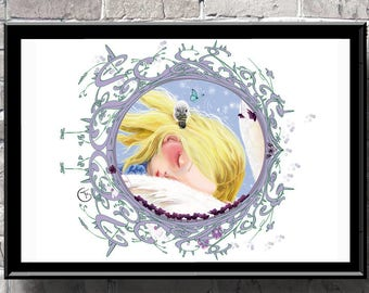 Madeline,pop surrealism art print,nursery art,baby shower,baby girl decor,birth gift,birthday,nursery decor