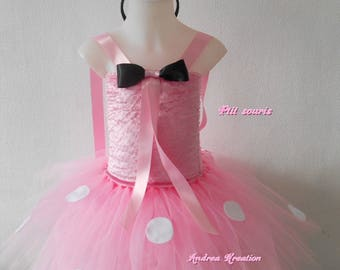 Tulle girl dress, little mouse pink 3/5 years