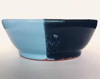 Half and half glaze. Ceramic bowl.