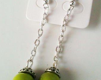 Earrings dangle, Pearl green.