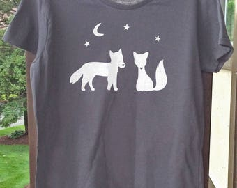 Womens Organic T-shirt Fox & Wolf w/ Moon, Stars - Organic Cotton T-shirt - Eco-friendly Shirt - Woodland Animals Adult Top - Sustainable