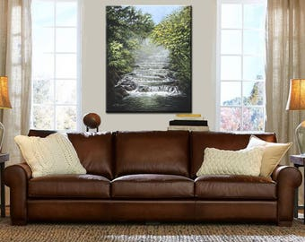 Stream Painting | Waterfall Painting | Waterfall Art | Falling Water | Deep Woods Art Print | Wall Art | Waterfall Print