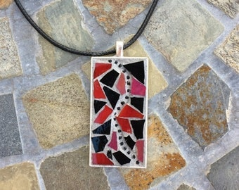 Mosaic Jewelry/Mosaic Pendant/Red and Black Stained Glass Necklace Pendant/Wearable Art/Gift for Her Under 30/Mosaic Gift