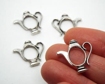 Small Teapot Open Outline Charm 21 x 21mm, Silver Coloured Charm