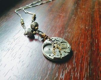 Steampunk watch mechanism necklace