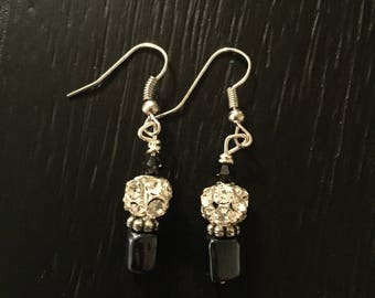 Handmade Beaded Sparkle Black Earrings