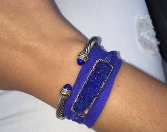 rectangle bar druzy wrap bracelet