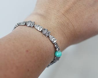 Owl Silver Plated Charm Bracelet, Lightweight Stretch Band
