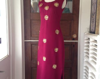 Vintage Gown in Burgundy and Gold with Sequins