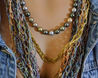 Blue Gold Necklace/Scarf