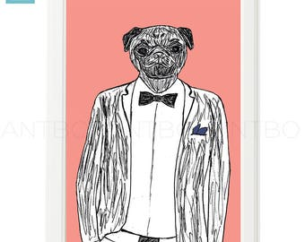 Classy pug, pug illustration, dog art print, wall art, dog print