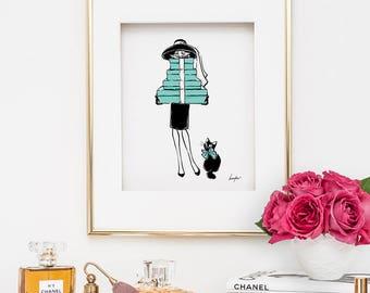 Audrey Hepburn Print. Breakfast at Tiffany's Print. Fashion Illustration Print. Fashion Wall Art. Fashion Poster. Black Cat Print Home Decor