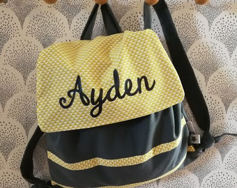 Backpack personalized cotton gray and mustard 2/5 years