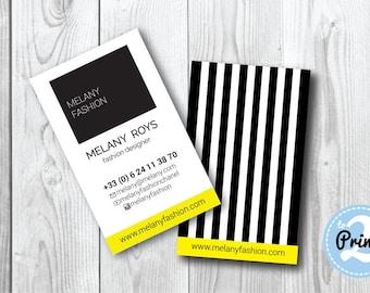 Premade business card design, Black stripes business card template | Instant download