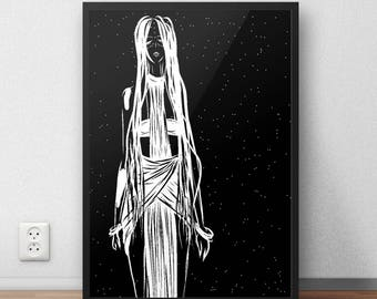 native woman print, tribal art print, bohemian woman print, native american print, wiccan woman print, pagan art print, fantasy woman print