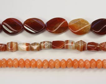 Stone Beads, Brown Stone, Peachy, Rocks, Puffy Round Beads, Agate, Dyed Jade, Natural Stone, DIY, BS169