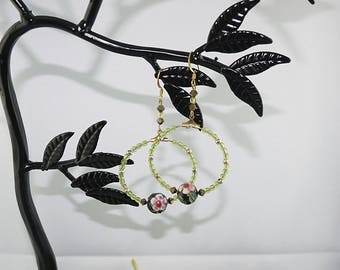 Chinese cloisonné and gold plated Pearl and glass beads hoop EARRINGS
