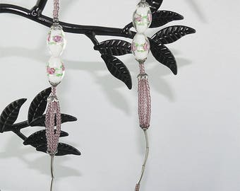 Pink NECKLACE LAMPWORK beads, and vintage silver tube