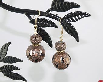 EARRINGS openwork frame gold-plated copper earring
