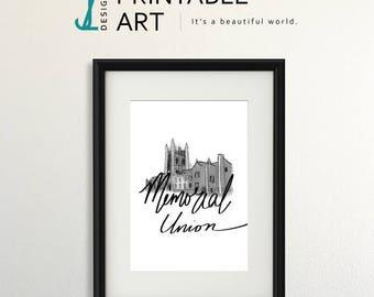 Mizzou Memorial Union Art Print, downloadable print, digital illustration