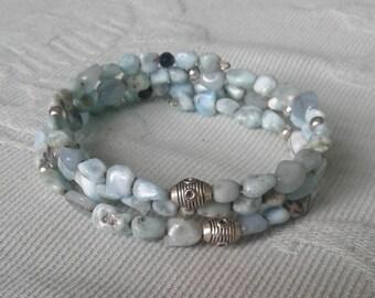 Natural Larimar, Aquamarine & Black Tourmaline with Silver Bead Wire Wrap Bracelet