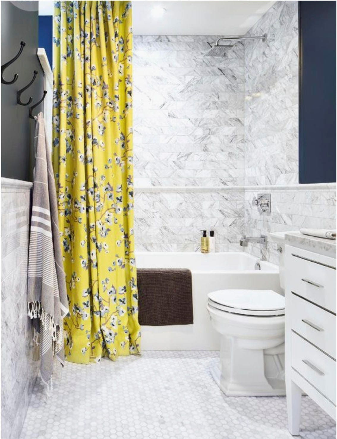 Yellow Shower Curtain Grey Linen Fabric Custom Extra Long