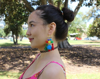 Colorful Earrings, Pom Pom Earrings, Tassel Earrings, Tribal Earrings