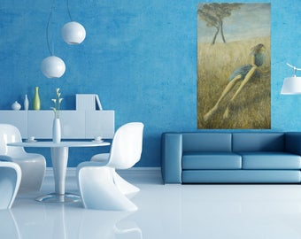 Brilliant Emotional Contemporary Wall Painting Landscape Wall Hanging Large Canvas Gallery Art Modern Design High Grass Blue Yellow Field
