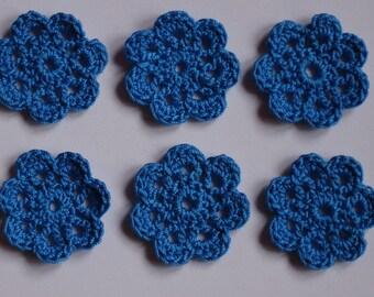 set of 6 small flowers blue crocheted diameter 3 cm