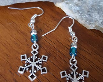 Silver and Blue Snowflake Earrings