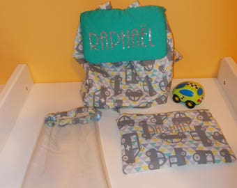 Set: Backpack child baby nursery boy car kit and hand made personalized pouch
