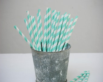 25 paper straws paper (white with turquoise stripes)