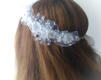 White flower Crown and tulle plumetis