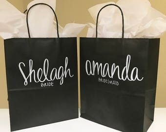 Custom Bridal Party Gift Bags, Wedding Gift Bags, Birthday Gift Bags