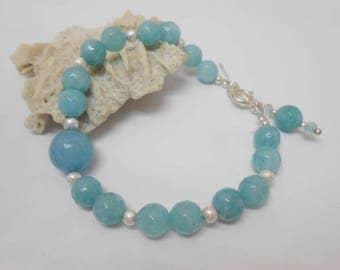 Aquamarine er 925 sterling silver beaded bracelet